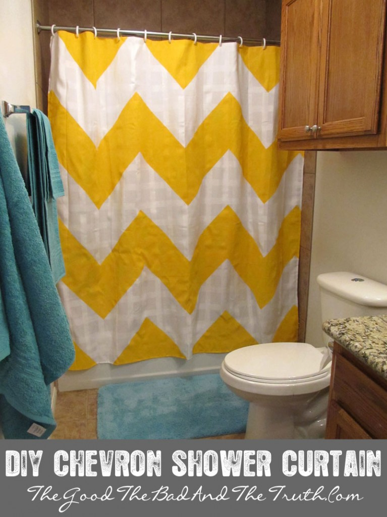 DIY Cheveron Stripe Shower Curtain