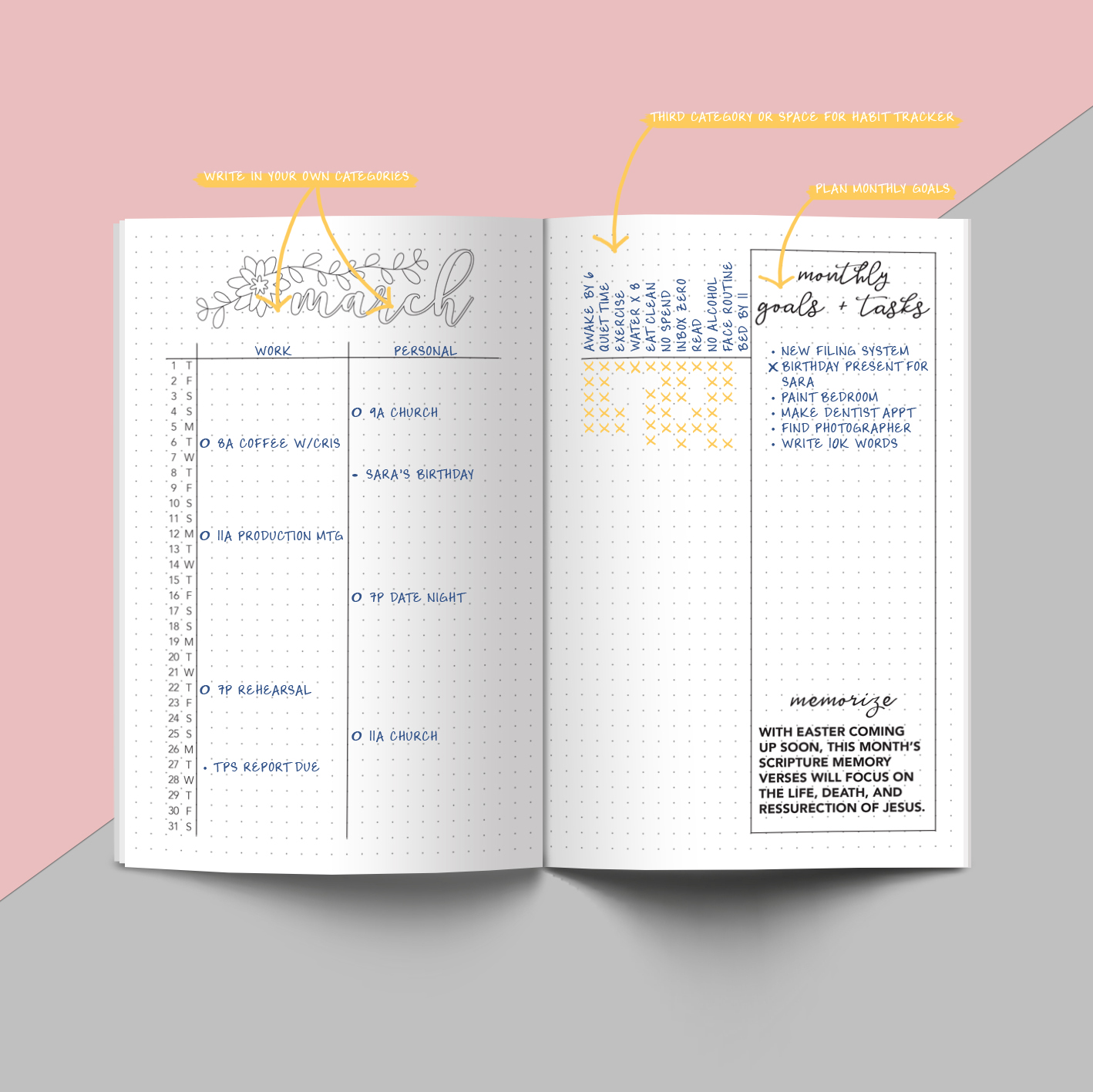 Printable March 2018 Planner - Dot Grid, Bullet Journal style, coloring page, bujo, calendar, planning #journalingwithtasha #planneraddict