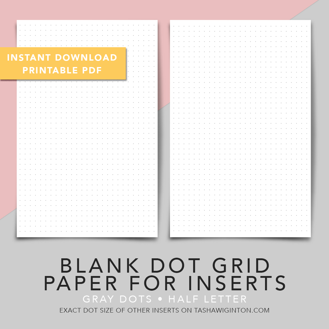 photograph regarding Dot Grid Printable named PRINTABLE Blank Dot Grid Paper Inserts
